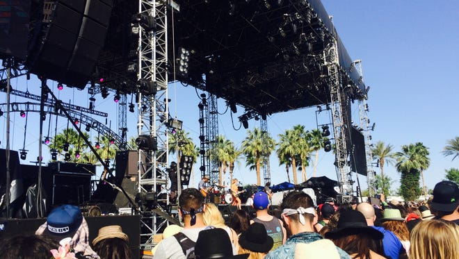 Angus & Julia Stone performs Friday, April 17, 2015, at the Outdoor Theatre at the Coachella music festival.