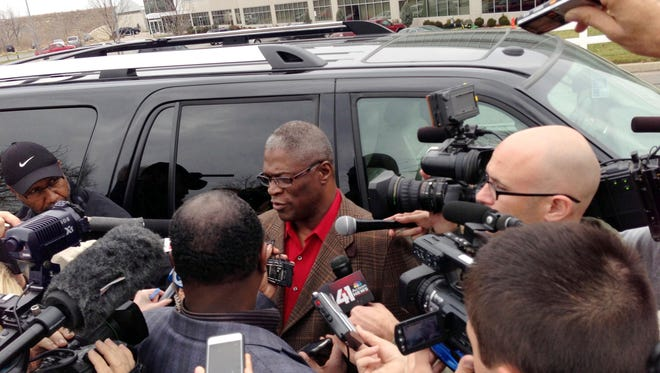Kansas City mayor Sly James speaks to reporters outside of the Chiefs practice facility on Saturday morning, after Chiefs player Javon Belcher killed his girlfriend, then committed suicide.  Denny Medley/US PRESSWIRE December 01, 2012; Kansas City, MO, USA; Kansas City mayor Sly James speaks to reporters outside of the Kansas City Chiefs Practice Facility the morning that Chiefs player Javon Belcher (not pictured) committed a murder and suicide. Mandatory Credit: Denny Medley-US PRESSWIRE