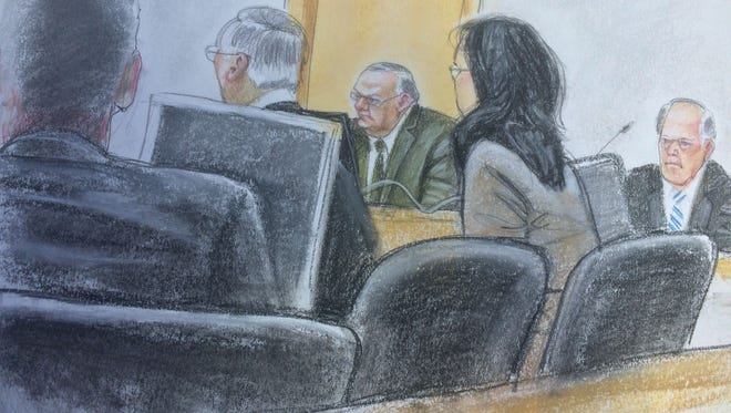 Sheriff Joe Arpaio (center) listens to testimony in a federal contempt of court hearing in April 2015.