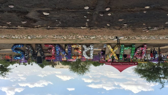 The 6th annual Earth Day Phoenix sign made entirely of recycled materials.