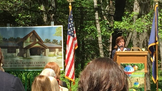 Lt. Gov. Kathy Hochul speaks to the crowd at Letchworth State Park on Thursday.