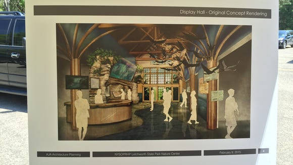A sketch of the display room at the new nature center at Letchworth State Park.