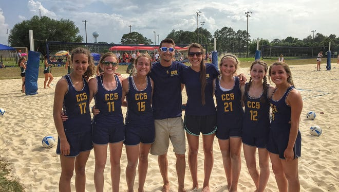 The Community Christian School sand volleyball team wrapped up its first season in Wedneday's season-ending tournament at Tom Brown Park.