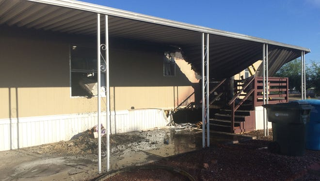 A family of four was displaced from a south Phoenix mobile home on May 26, 2015.