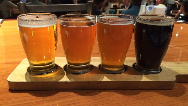 A beer flight at Galaxy Brewing Co.