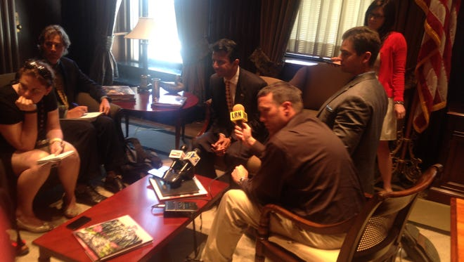 Gov. Bobby Jindal meets with the press May 28 at the State Capitol.