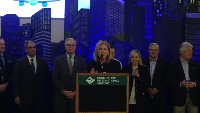Airport authority President/CEO Marily Mora speaks after the first JetBlue nonstop flight from New York landed at the Reno-Tahoe International Airport on Thursday night.