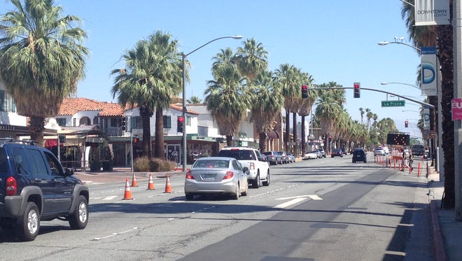 Drivers going north on Indian Canyon Drive are limited to the two right lanes because of a Southern California Edison project. When they reach La Plaza, the far right lane shuts down for the Spa Resort Hotel renovation project.