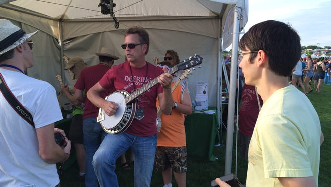 John Thomson playing banjo at the Gentlemen of the Road Stopover.