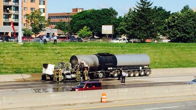 Tanker fire halts traffic on I-75 southbound near Mack Ave. in Detroit