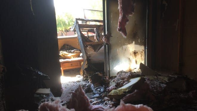 The inside of one of the apartments that was burned in a fire on Friday