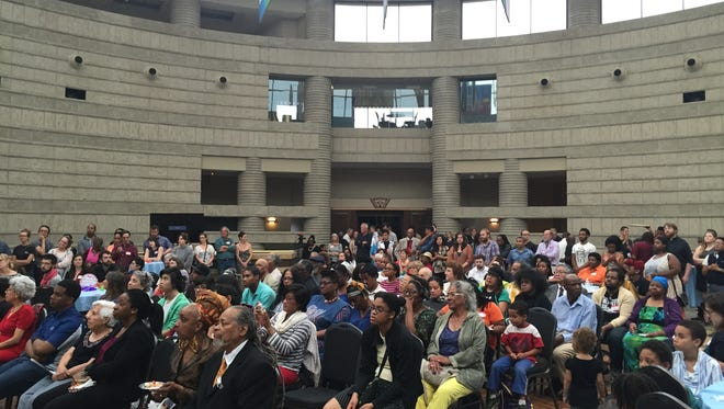Hundreds of people at the Charles H. Wright Museum of African-American History in Detroit attend Grace Lee Boggs' 100th birthday party on June 26.