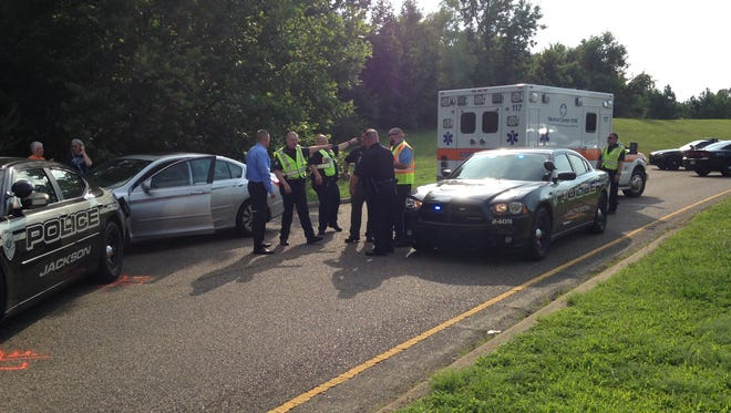 A Jackson police officer's patrol car was rear-ended on Pleasant Plains Extended near Union University this afternoon, said Police Chief Julian Wiser.
