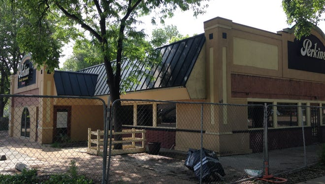 The former Perkins restaurant at 310 S. College Ave. is set for demolition to make way for student housing and retail development.