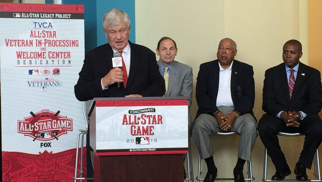 "Reds owner Bob Castellini attended the opening and ribbon cutting for the new CityLink Welcome Center Saturday afternoon and called the project his ""favorite"" of the Legacy Project from the MLB."