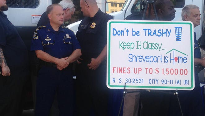 A sign advertising Shreveport's litter abatement initiative is seen outside of City Hall Wednesday.