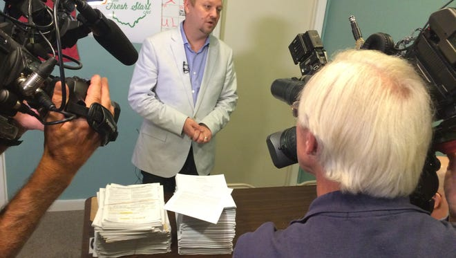 """Ian James, executive director of ResponsibleOhio, says getting another 30,000 signatures to qualify marijuana legalization for the 2015 ballot is """"eminently do-able."""""""