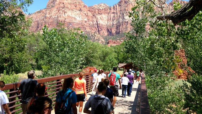 Crowds are flocking in record numbers to Zion National Park this year. Park officials say the higher usage is putting more pressure on park resources to keep up. Crowds are flocking in record numbers to Zion National Park this year, with visitation up 17 percent in the first quarter of 2015. On Wednesday, park officials said the higher usage is putting more pressure on park resources to keep up.