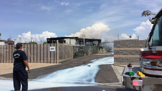 Crews were concerned about the chemical runoff from a fire that broke out next to a pool supplier.