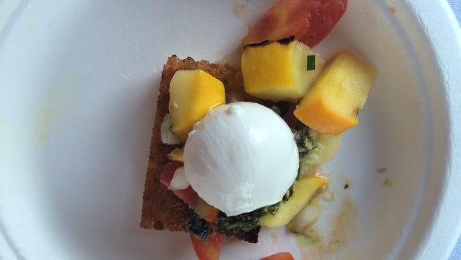 Wake Robin served a pan-seared polenta topped with Bella Farm veggies and pesto