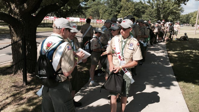 Boy scouts check in with their lodge Monday for this week's 100th National Order of the Arrow Conference.