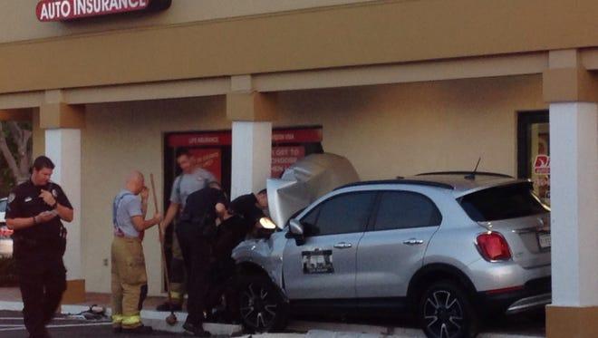 A driver crashed into a car insurance building Thursday.