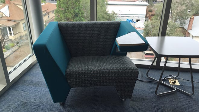 The KI Furniture, Myway Tablet Arm Chairs can be found in the new Peavine Hall, opening Thursday at UNR. The $1,450 chairs have plug-ins, tablet arms and  a lifetime warranty.