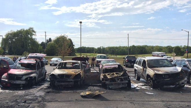 As many as four cars were severely damaged following a chain-reaction fire at Manitowoc Health & Rehabilitation Center, 2021 S. Alverno Road, Manitowoc, Thursday, Aug. 13.
