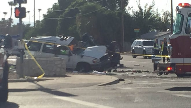 The crash scene in Peoria on Sunday near 75th and Northern avenues.