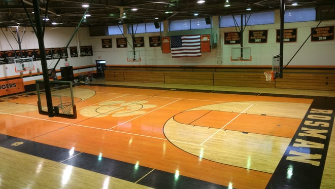 Rosman's gym floor is one of the recent projects performed by Carolina Hardwood out of Clyde.