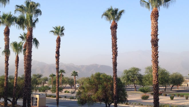 Gusty winds are blowing sand and dust into Palm Springs Wednesday morning. They should subside by the afternoon, according to the National Weather Service.