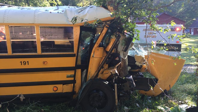 An Augusta County school bus hit a tree Tuesday morning on U.S. 250 west in Churchville.