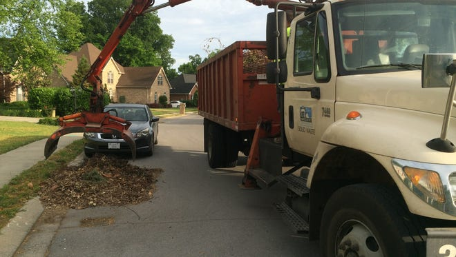 Crews driving Murfreesboro brush trucks are collecting yard waste on the city's east side Monday.