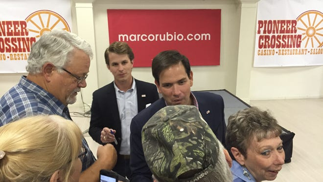U.S. Sen. Marco Rubio, R-Fla. became the first candidate to visit small-town Yerington while on the campaign trail. Rubio attended a barbecue of around 60 people and a rally downtown of around 230.