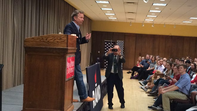 Republican U.S. Sen. Rand Paul speaks to students at Iowa State University on Friday.