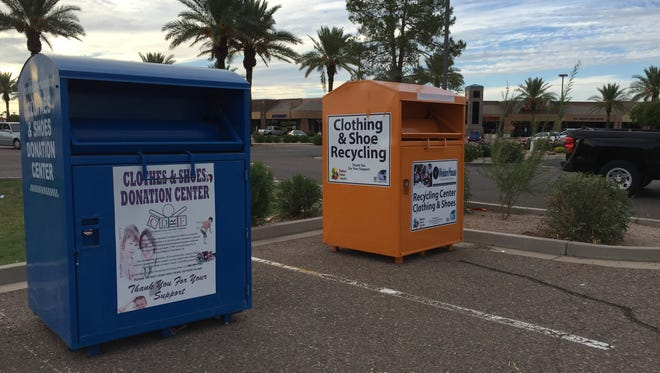 Donation bins at the Fry's-WalMart shopping center, Warner and Alma School roads.