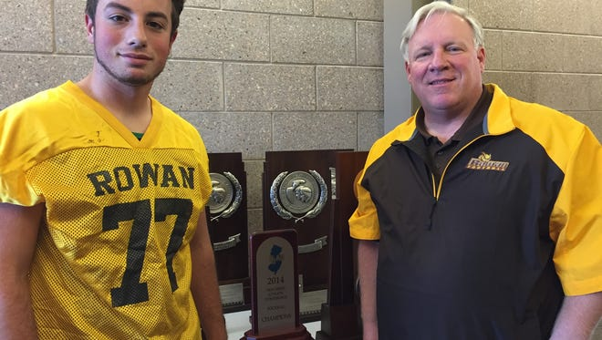 Rowan kicker Tyler Knighton with coach Jay Accorsi