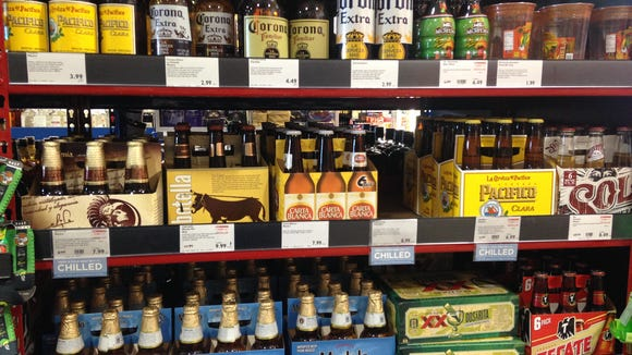 Familiar Mexican beers line the shelves.