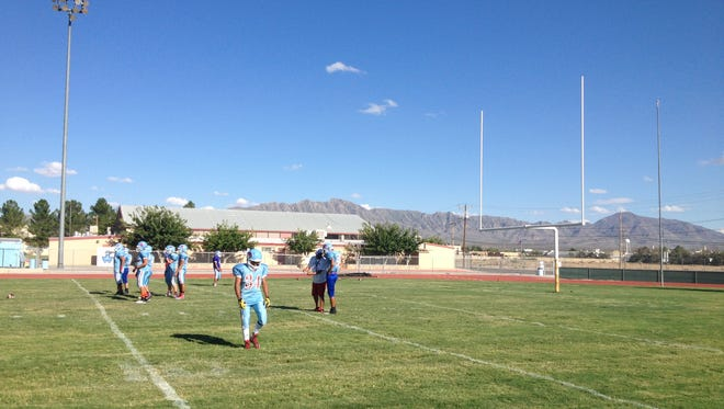 The Anthony football team practices on Wednesday.