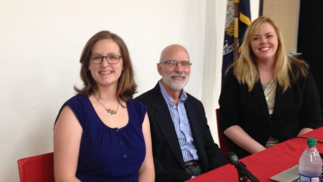 Council candidates Alicia Chaisson, Bruce Conque and Sevie Zeller participated in a forum Thursday.