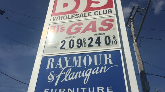 Gas prices at BJ's Wholesale Club on Sept. 18.