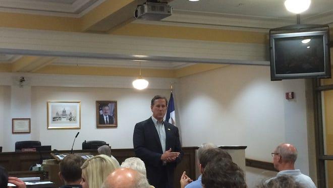 Rick Santorum speaks to the Warren County Republicans in Indianola, Sept. 21, 2015