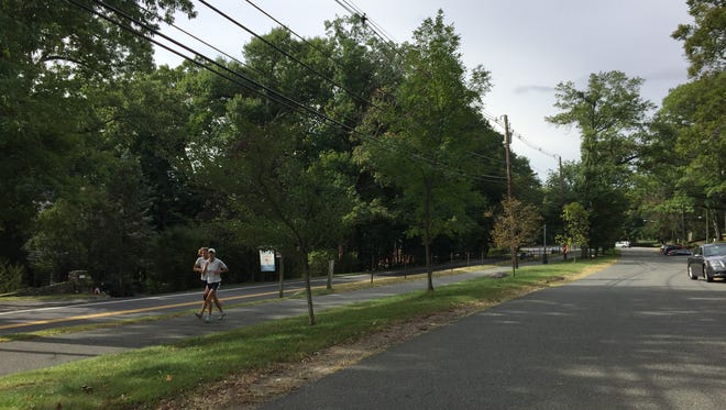 Joggers run on the path along the Boulevard in Mountain Lakes.