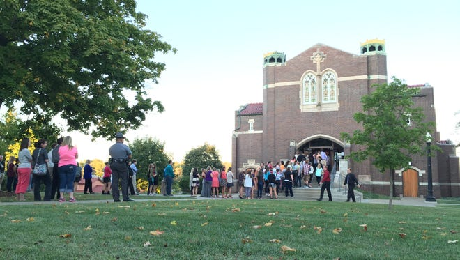 Muskingum University students attended a vigil for Bryce Skok, who died in a car crash Tuesday.