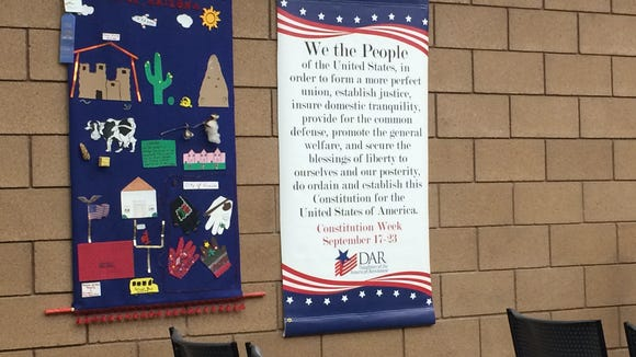 A banner celebrating Constitution Week decorates the