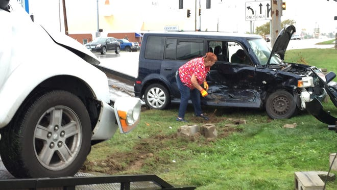 Two women, one of them pregnant, were hospitalized after a crash on Maple Avenue across from We Luv Pets.