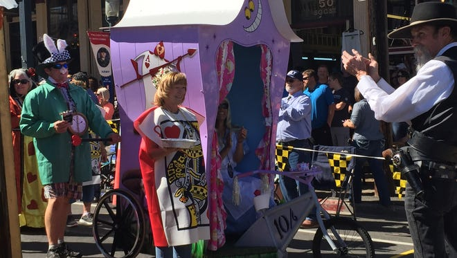 Contestants parade their creations at the 26th Annual World Championship Outhouse Races in Virginia City.