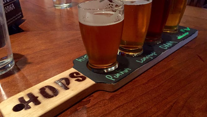 A beer flight from HOPS in Morristown