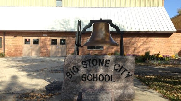 The quiet exterior of Big Stone City School on Tuesday morning.