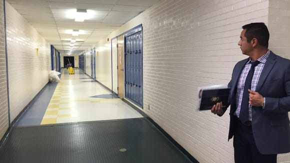 Eastwood High School administrators say this hallway floods when it rains.